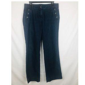 LOFT Dark Blue Jeans Curvy Trouser Size 8